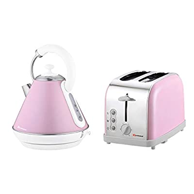 Electric Kettle & Toaster Set, Stainless Steel - Pink