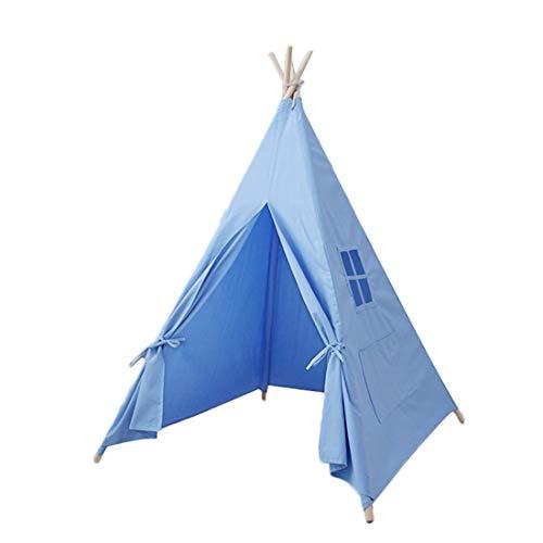 OUYA Tienda de campaña para niños, Lona de algodón portátil, Tipi Indio, casa de Juegos para niños, decoración de habitación de niños, Juguetes Tipi y Regalo de cumpleaños,Azul