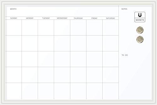 U Brands Magnetic Dry Erase Calendar Board, 30 x 20 Inches, White Wood Frame (2075U00-01)