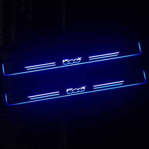 ZPYZA para Fiat 500X 2015 2016 2017 2018 2019 Luces LED, Protector De Umbral, DecoracióN, Huella De Pie, Puerta Decorativa, Umbral De Coche, Tira De ProteccióN