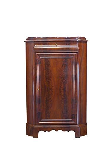 Antiker Eck- Vertiko Biedermeier um 1840 Mahagoni furn. | Eckschrank Wohnzimmerschrank Wäscheschrank | B: 95 cm (9785)