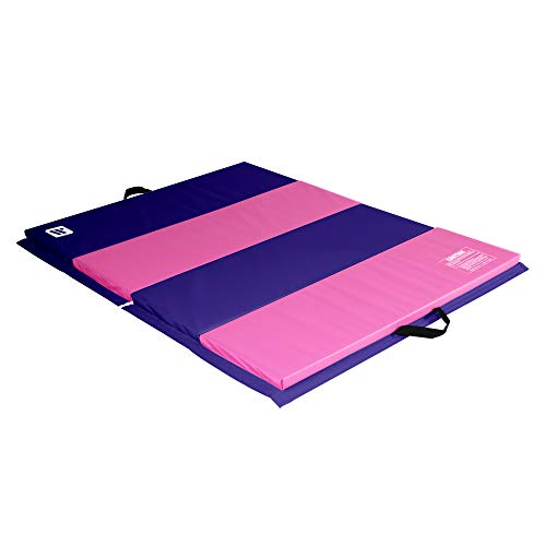 We Sell Mats 4 ft x 6 ft x 2 in Personal Fitness & Exercise Mat, Lightweight and Folds for Carrying, Purple/Pink