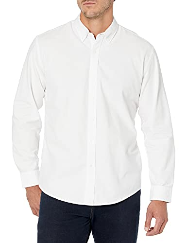 Amazon Essentials Regular-Fit Long-Sleeve Solid Oxford Shirt Camicia, Bianco (White), Medium