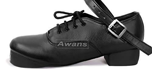 Awans Great Value Irish Dancing, schwere Schuhe, laute, flexible weiche Sohle, handgefertigt, Schwarz - Schwarz - Größe: 32 EU