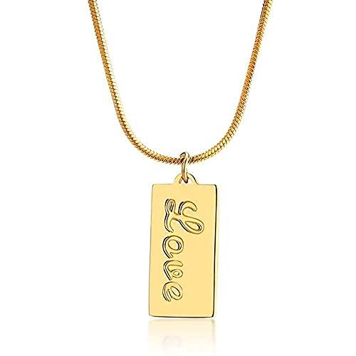 chaosong shop Colgante rectangular de acero inoxidable chapado en oro de 18 quilates con cadena de serpiente para mujeres y niñas