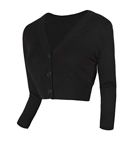 Urban GoCo Damen V-Ausschnitt Kurz-Strickweste Strickjacke (L, schwarz)