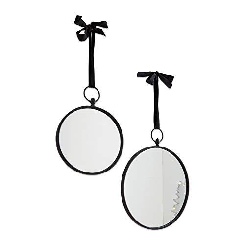 Loberon Spiegel 2er Set Azir, Glas/Eisen/Samt, H/B/T/Ø ca. 43,5/35 / 2/35 cm, schwarz