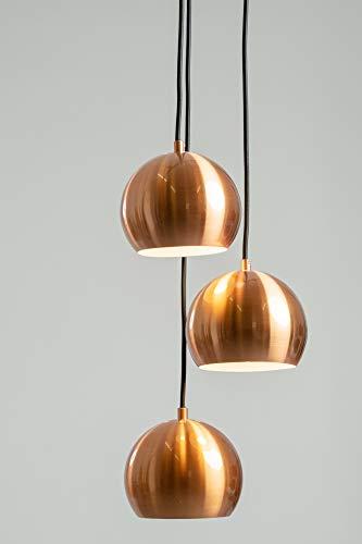 anTes interieur Hängeleuchte Balls kupfer gebürstet mit 3 x LED-Leuchtmittel (Mehrflammig Pendelleuchte Hängelampe Deckenlampe Pendellampe Deckenleuchte)