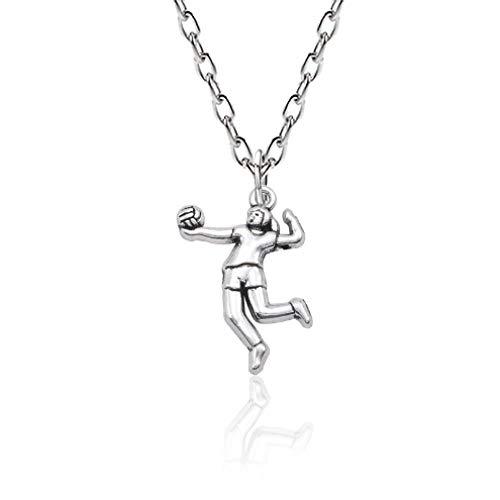 TTDAltd Halskette Trendy Volleyball Girl Player Anhänger Halskette Frauen Metall Sport Figur Silber Farbe Kette Halskette Inspirierender Schmuck