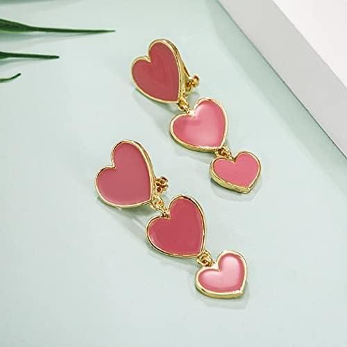 Enamel Long Heart Clip on Earrings Non Pierced for Women Black White Six Color Metal Gold Ear Clips Klipsy Jewelry