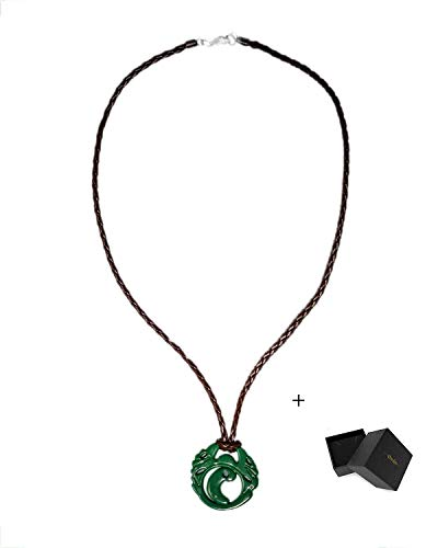 Mesky Lara Croft Halskette Tomb Raider Cosplay Necklace Game und Film Zubehör Neckkette Anhänger aus Legierung Grün 100g Halskette für Damen und Herren