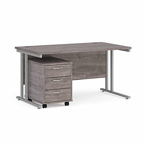 Maestro - Juego de 25 escritorios, 800 mm de profundidad, recto, pedestal móvil con 3 cajones con patas voladizas, color gris roble, 140 cm