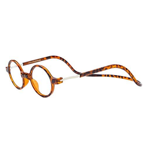 JEEDA Vintage Lesebrille für Männer Frauen Frontanschluss Brillen O1(leopard,+2.50)