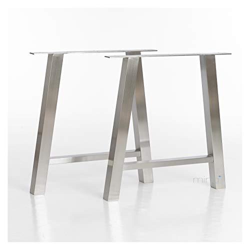 mina concept Tischgestell A-Form modern I 60 x 60 mm Profil I hochwertiger Edelstahl gebürstet I 72 cm hoch I Indoor & Outdoor I Untergestell für ESS-, Schreib-, Gartentisch I 1 Paar (2 Stück)