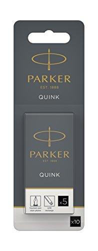 Parker 1950382Quink Recharge pour stylo à plume Noir Pack de 10