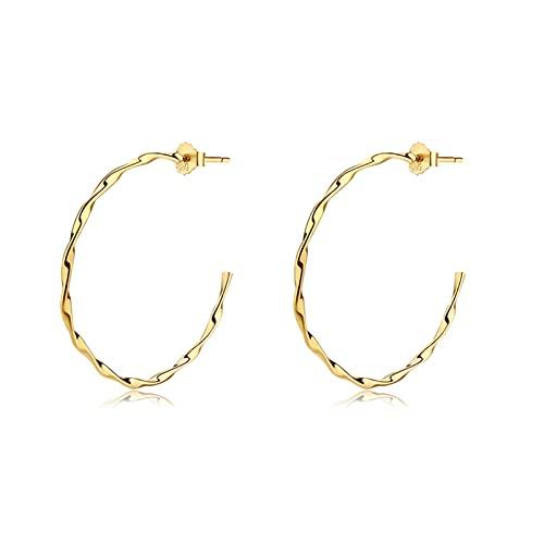 Pendientes de diamantes Pendientes de aro grandes de oro clásicos de la mujer Pendientes de aro grande para 18k chapado en oro para mujeres niñas sensibles a las niñas Pendientes colgantes