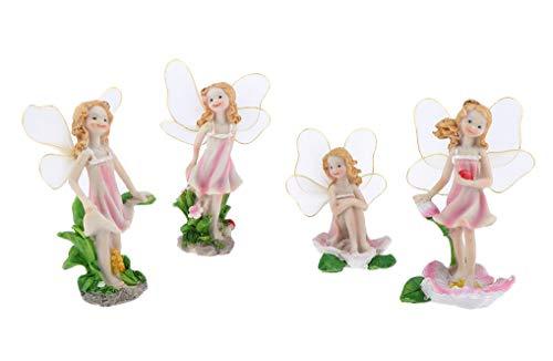 SecretRain Resin Garden Ornament Home & Outdoor Decor Flower Fairies Set Of 4
