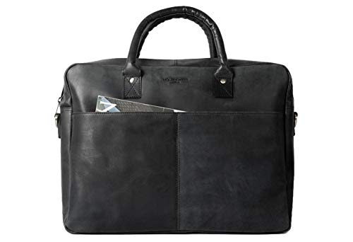 HOLZRICHTER Berlin - Briefcase (M) Premium Aktentasche aus Leder - Handgefertigte Große Laptoptasche - Ledertasche für Herren & Damen - schwarz-anthrazit
