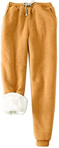 HAPPKING Super Thick Cashmere Wool Leggings, Super Thick Cashmere Leggings, Cashmere Leggings, Winter Warm Leggings, Women's Thermal Winter Leggings for Girls (Farbe : Gelb, Größe : XXL)