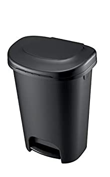 Rubbermaid Classic 13 Gallon Step On Trash Can with Lid Black Plastic Kitchen Garbage Bin