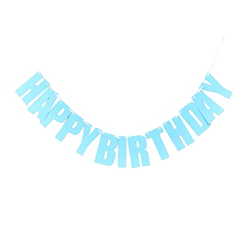 YUANMAO Birthday Bunting,Birthday Banners spell Letter Happy Birthday,for Home or Garden Birthday Party Bunting Blue