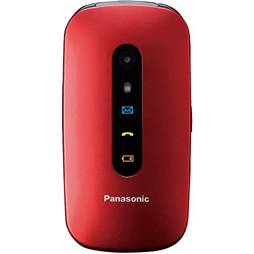 Panasonic TU456 - Teléfono Móvil para Mayores (Pantalla Color TFT 2.4 , botón SOS, compatibilidad audífonos, Resistente a Golpes, Bluetooth, cámara) Color Rojo