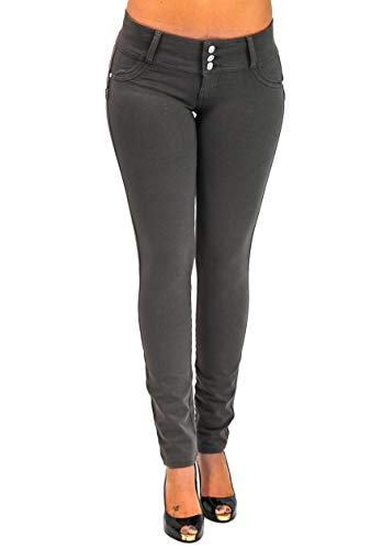 Premium Stretch Cotton Butt Lifting, Levanta Cola, Skinny Leg Premium French Terry Fashion Moleton in Asphalt Size XS