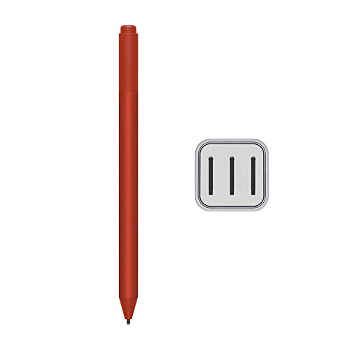 2020 Microsoft Surface Pen para Surface Pro 7 Pro 6 Surface Laptop 3 Surface Book 2 Laptop 2 Surface Go Studio 2 4096 Puntos de presión Borrador Bluetooth Poppy Red w/3 extra Surface Pen Tips HB