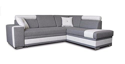 große Ecksofa Sofa Eckcouch Couch mit Schlaffunktion und Bettkasten Ottomane L-Form Schlafsofa Bettsofa Polstergarnitur - JACKSON (Ecksofa Rechts, Grau)
