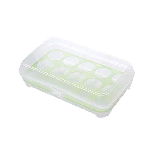 Ourine Ei-Aufbewahrungsbox, 15 Grids Ei-Aufbewahrungsbox Ei-Aufbewahrungsbehälter Tragbarer Ei-Organizer Grün