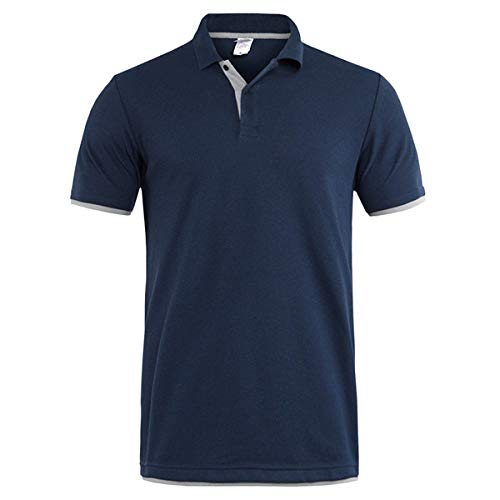 MTCDBD Herren Polo Kurzarm, Summer Leisure England Lose Blaue Top-Kleidung Schnelltrocknende Stretch-Button-Trikots Kleidung Lässiges T-Shirt Golf-Tennis-Arbeitskleidung Weste, XL