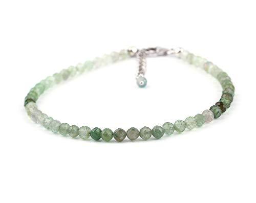 InfinityGemsArt laminado con rodio 925 cristales de plata verde natural de turmalina cristales dainty la pulsera hecha a mano joyería turmalina chakra healing piedra de la energía de 8 pulgadas de reg