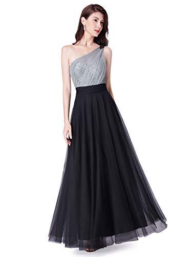 Ever-Pretty Vestito da Festa Donna Linea ad A Monospalla Paillettes Abito da Sera Tulle Lungo Nero 46
