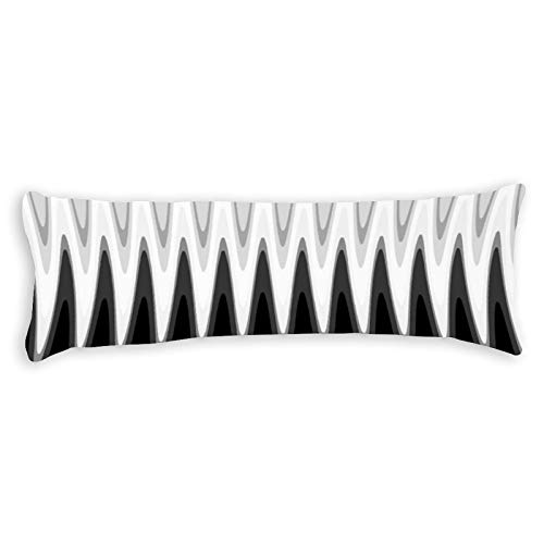 Promini Zig Zag Black White Gray Pattern Accent Body Pillow Cover Pillowcases Cushion with Hidden Zipper Closure for Sofa Bench Bed Home Decor 20'x54'