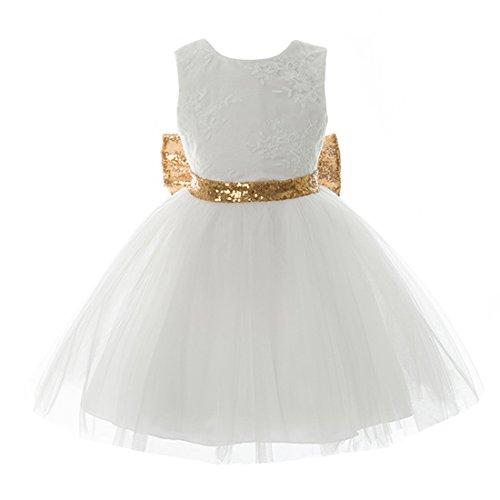 Inlefen Vestido de Las Muchachas de la Flor del Banquete de Boda Cumpleaños Lentejuelas Bowknot Princesa sin Mangas Floral Vestido Formal para bebés Niños pequeños 0-5 años