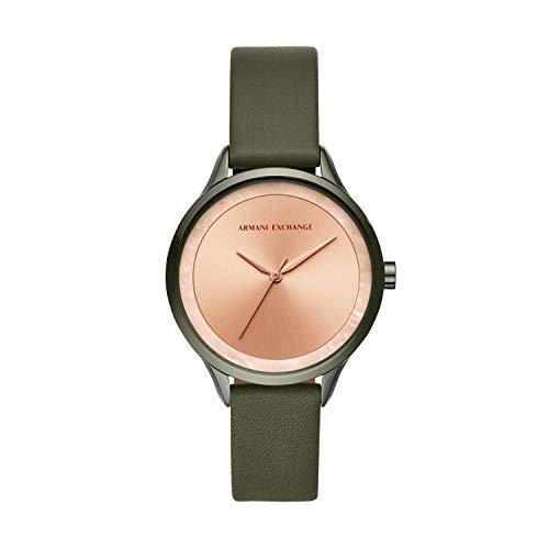 Armani Exchange Damen Analog Quarz Uhr mit Leder Armband AX5608