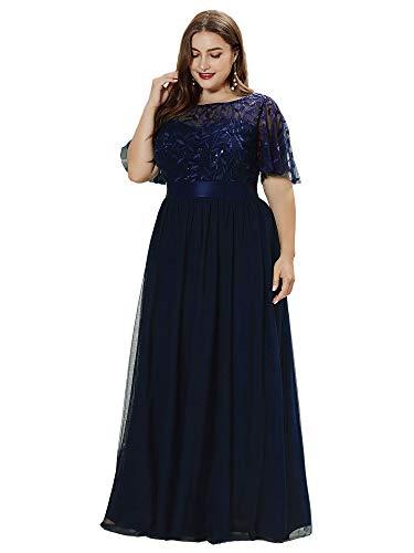 Ever-Pretty Damen Elegant Empire A-Linie Bodenlang Kurze Ärmel Tüll große Größe Abendkleider Navy Blau 56