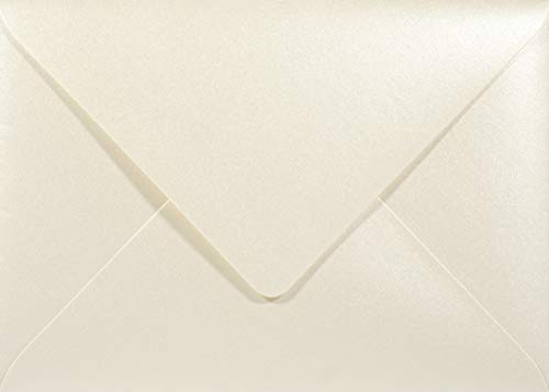 Netuno 100 Perlmutt- Creme DIN B6 Briefumschläge 120g, 125x175mm, Majestic Candelight Cream, Spitzklappe, ideal für Hochzeit, Geburtstag, Taufe,Weihnachten, Einladungen, Gelegenheitskarten
