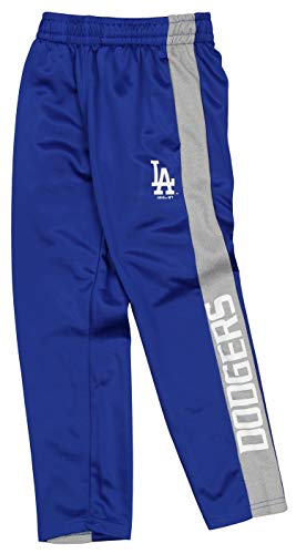Outerstuff MLB Youth Boys (8-20) Side Stripe Slim Fit Performance Pant, Los Angeles Dodgers Small (8)