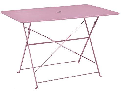 PEGANE Table Pliante rectangulaire en métal Coloris chamallow - Dim : 110 x 70 x 70cm