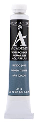 Grumbacher Academy Watercolor Paint, 7.5ml/0.25 Ounce, Indigo Hue (A112)