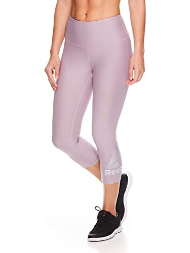Reebok Women's High Waisted Capri Workout Leggings - Cropped Performance Compression Gym Tights - Light High Rise Sea Fog Purple, X-Large