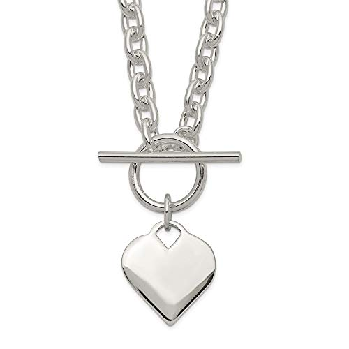 925 Sterling Silver Engraveable Heart Toggle Chain Necklace Pendant Charm Love Fine Jewelry For Women Gifts For Her