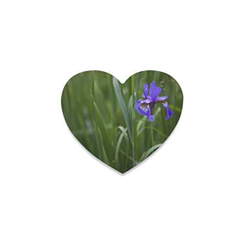 Tapete para Tazas Posavasos para Mesa de Centro Flor de Iris floreciente en un Prado Posavasos de Granja para Bebidas Taza Posavasos Modernos en Forma de corazón para decoración de Barra