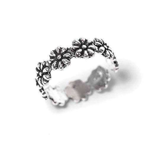 81stgeneration Women's .925 Sterling Silver Flower Adjustable Midi PInky Finger Toe Ring