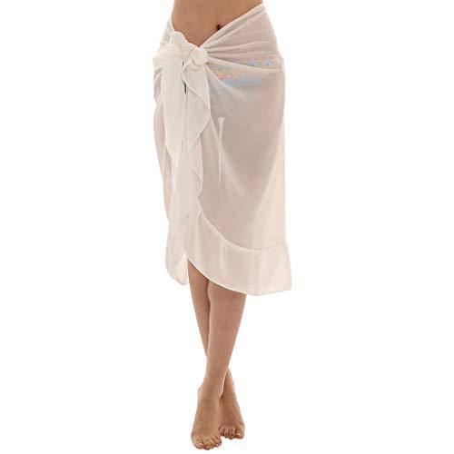 Scrolor Pareos Strandkleider für Damen Strandtuch Sonnenschutzfelsen für Bikini 145 × 70cm Einfarbig Rüschenverzierung(Weiß,Free)