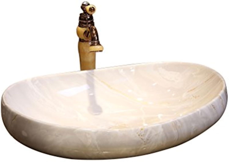 Bathtub LUYIASI- Moderne Einfache Zhler Becken Europischen Kunst Becken Oval Keramik Waschbecken Waschbecken über Zhler Becken (64x12,5x16 cm)
