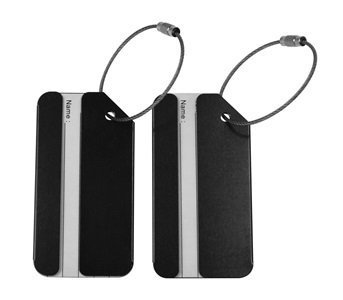 KLOUD City 2 pcs Metal Travel Accessories Square-Shape Luggage tag/Identifier with Name Card (Two Black)