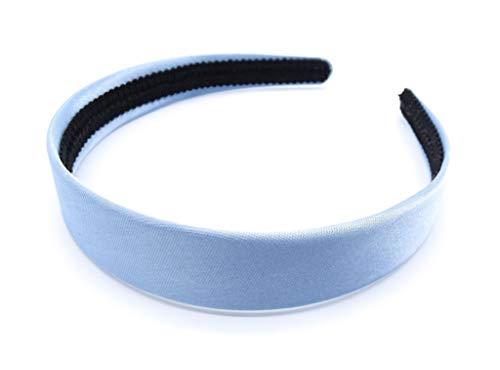 irresistible1 Serre-tête en satin soyeux avec tresse intérieure noire Bleu pastel 2,5 cm