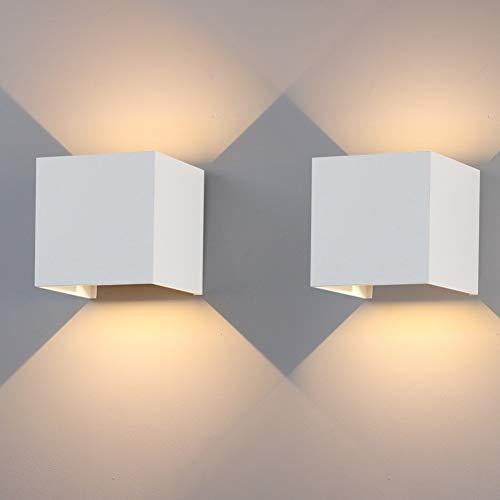 Klighten 2er Außenwandleuchten 12W,IP65,1020lm,2700K-3000K Warmweiß,Wandleuchte LED Innen/Außen Mit Einstellbar Abstrahlwinkel,Weiß